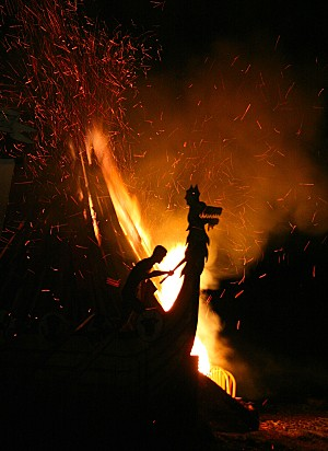 Burning of the longship