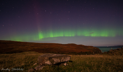 The Manners Stone with the Aurora at Galtrigill