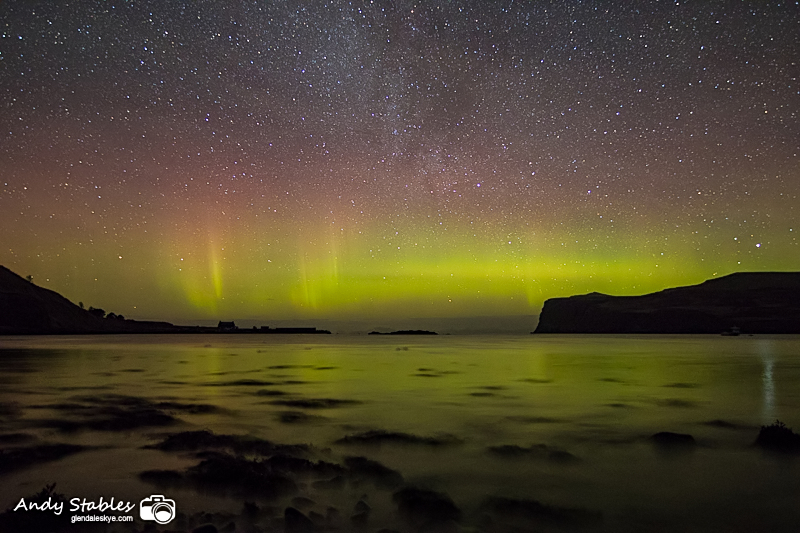 The Aurora Borealis (Northern Lights) in Glendale, Isle of Skye
