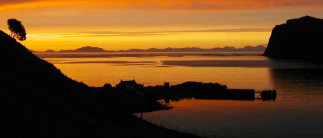 Sunset over Meanish Pier, Milovaig
